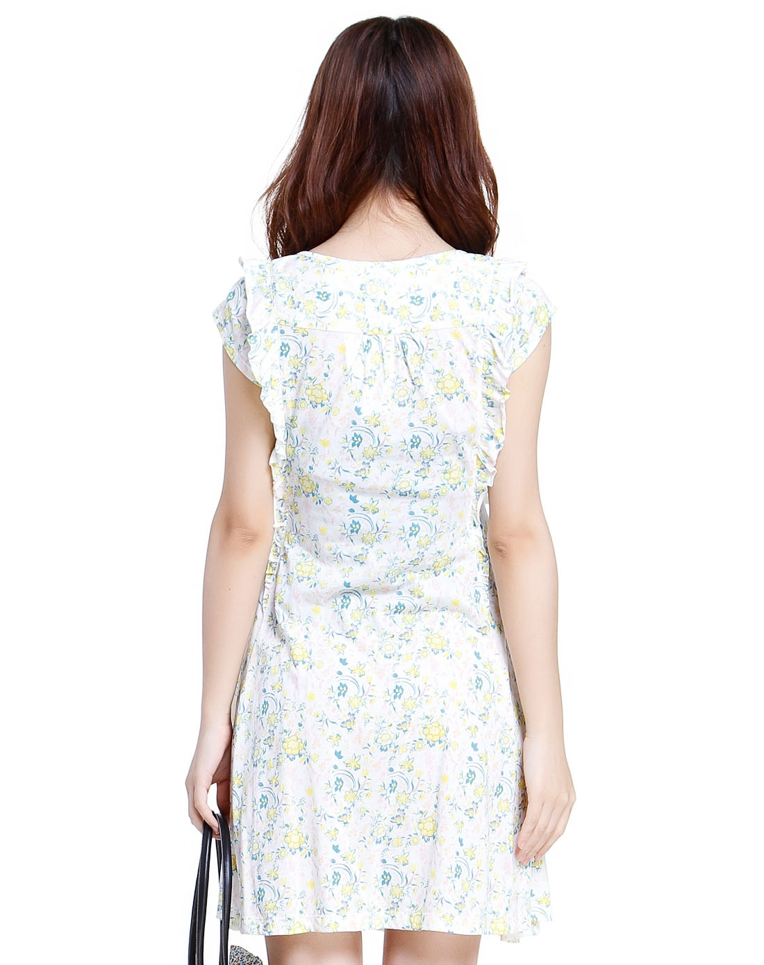 小碎花白底鹅黄色短袖针织连衣裙