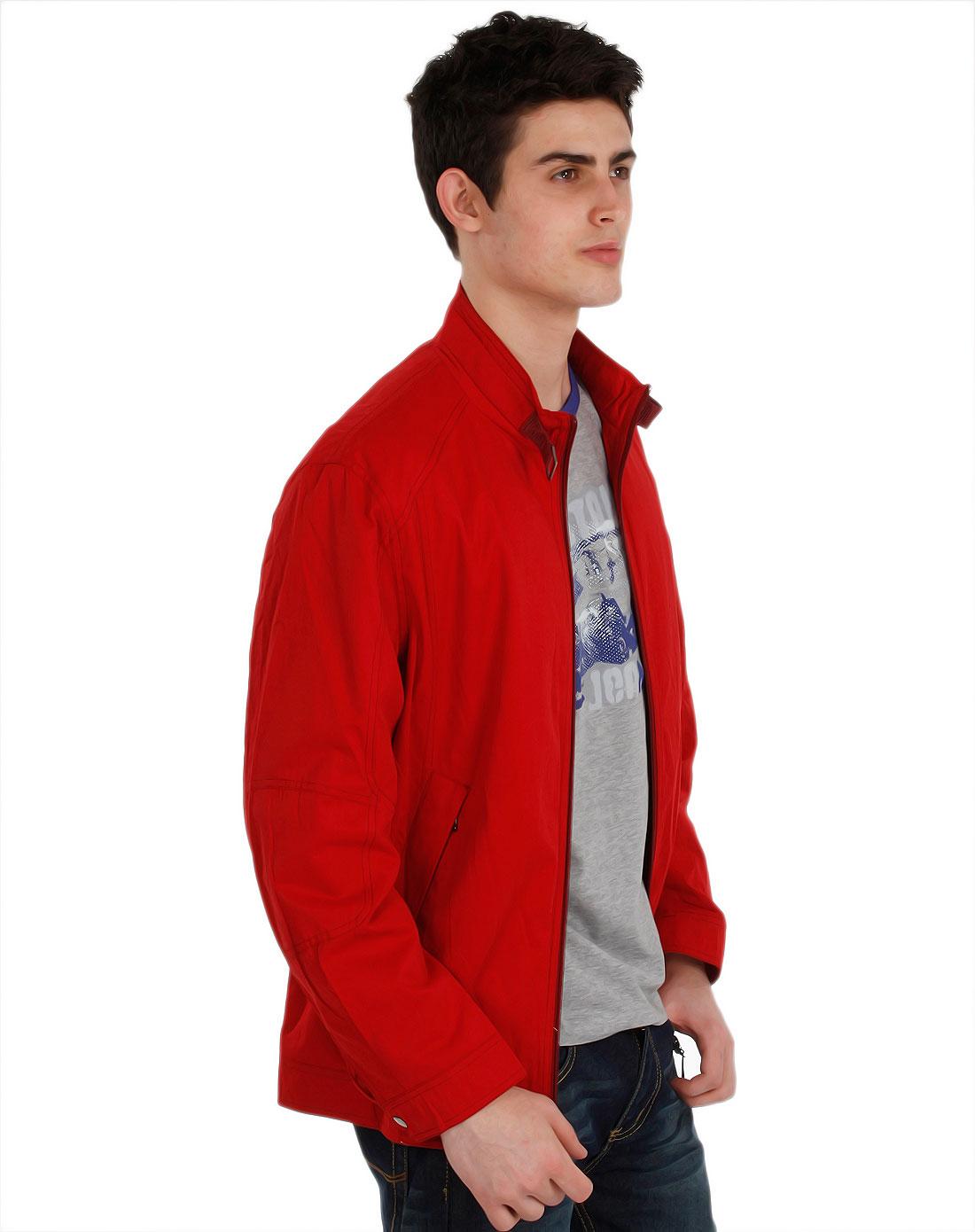 georgebeffry-男款大红色立领春秋茄克衫