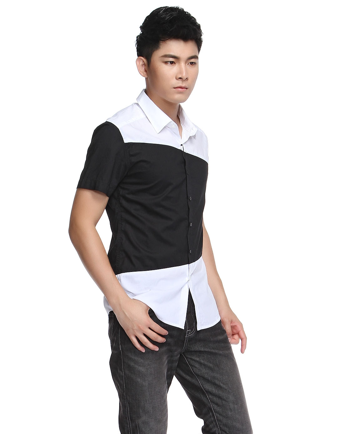 视觉创意黑白拼接短袖衬衫
