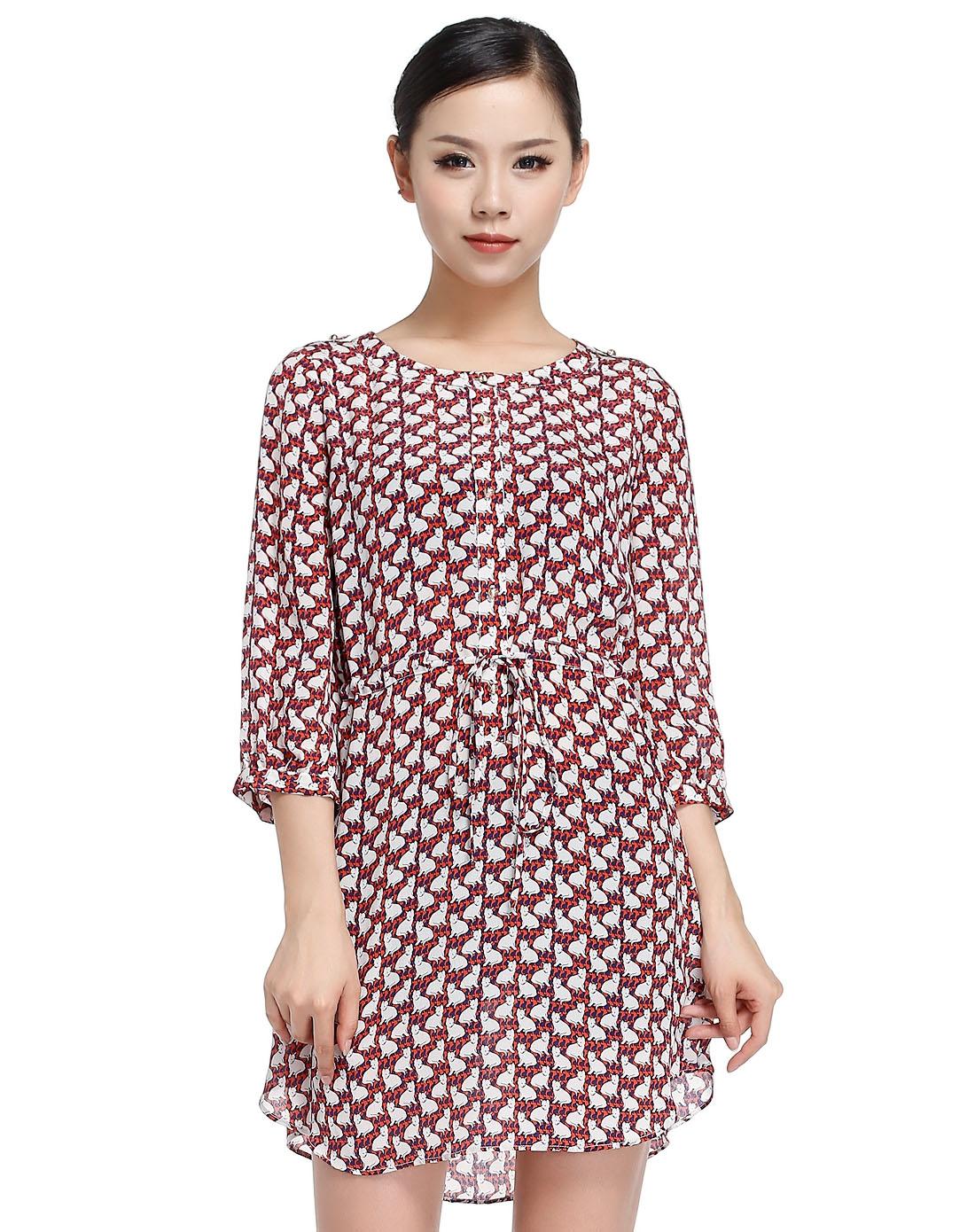 时尚圆领动物印花真丝红色中袖连衣裙
