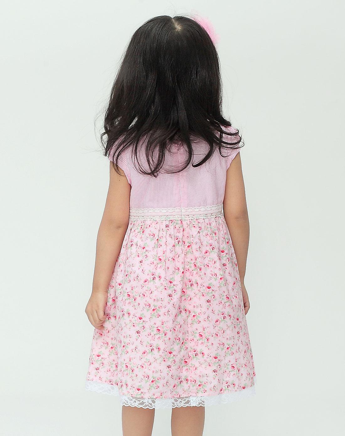 女童粉色连衣裙