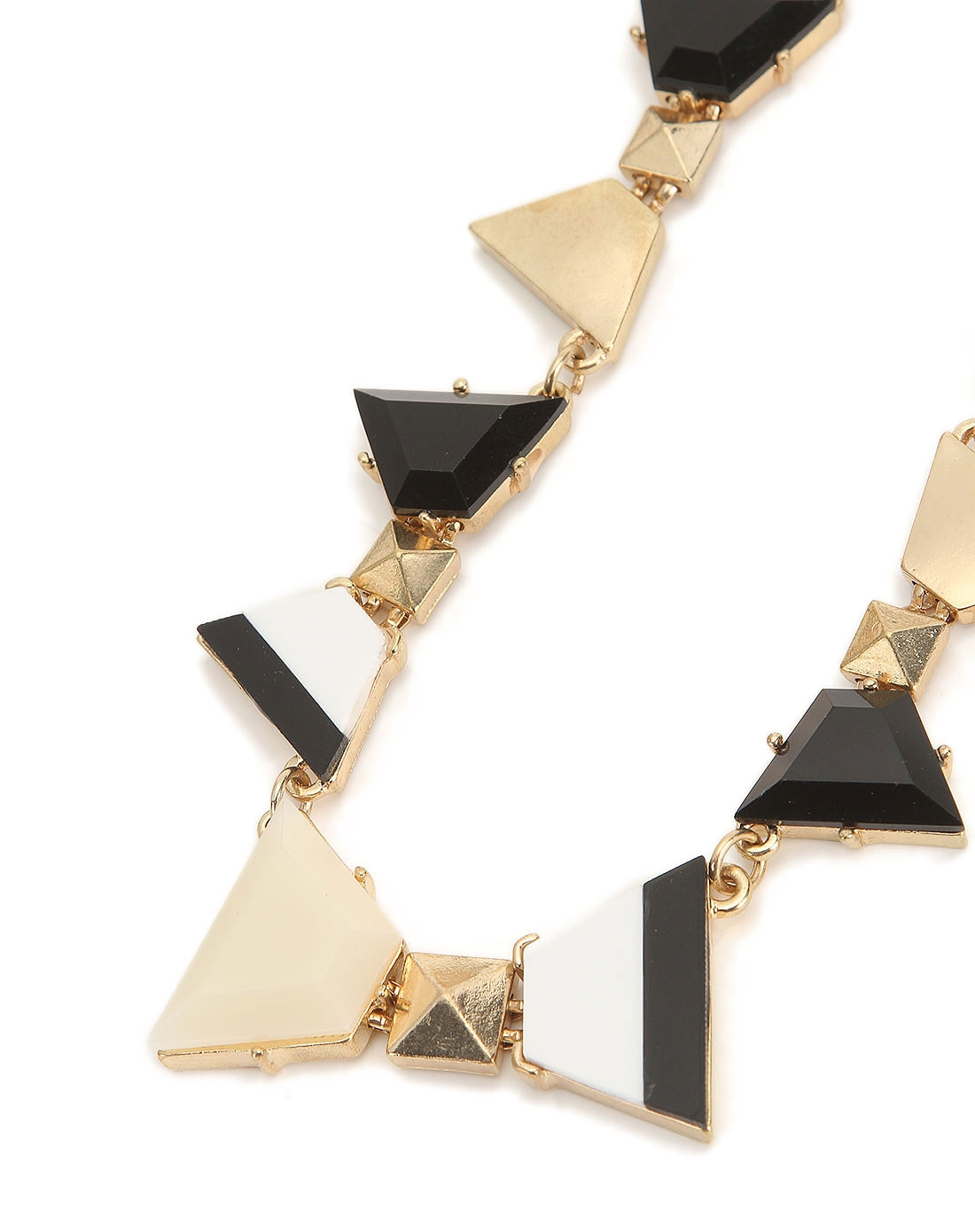 黑白金色几何图案装饰项链