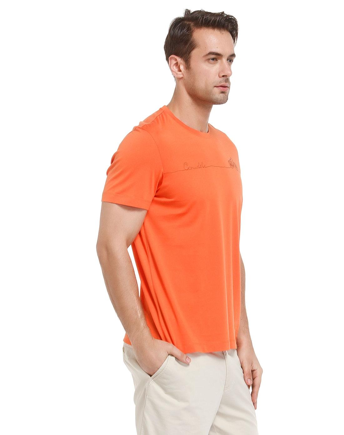 橙色休闲圆领短袖t恤