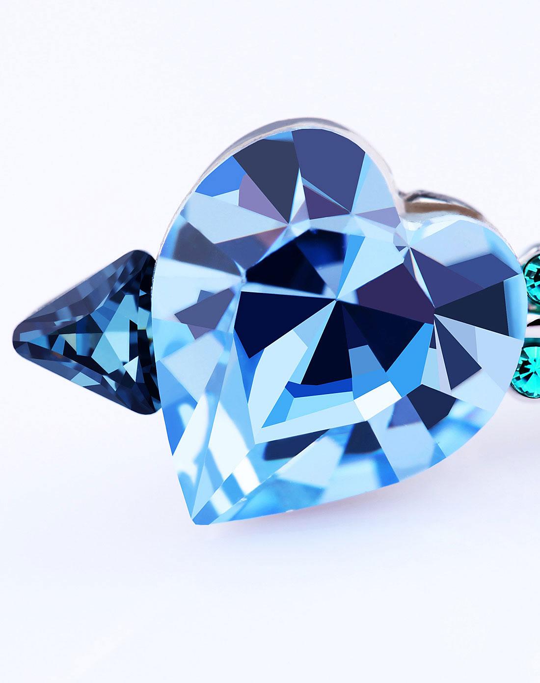 银浅蓝色镶水晶蓝色惆怅胸针