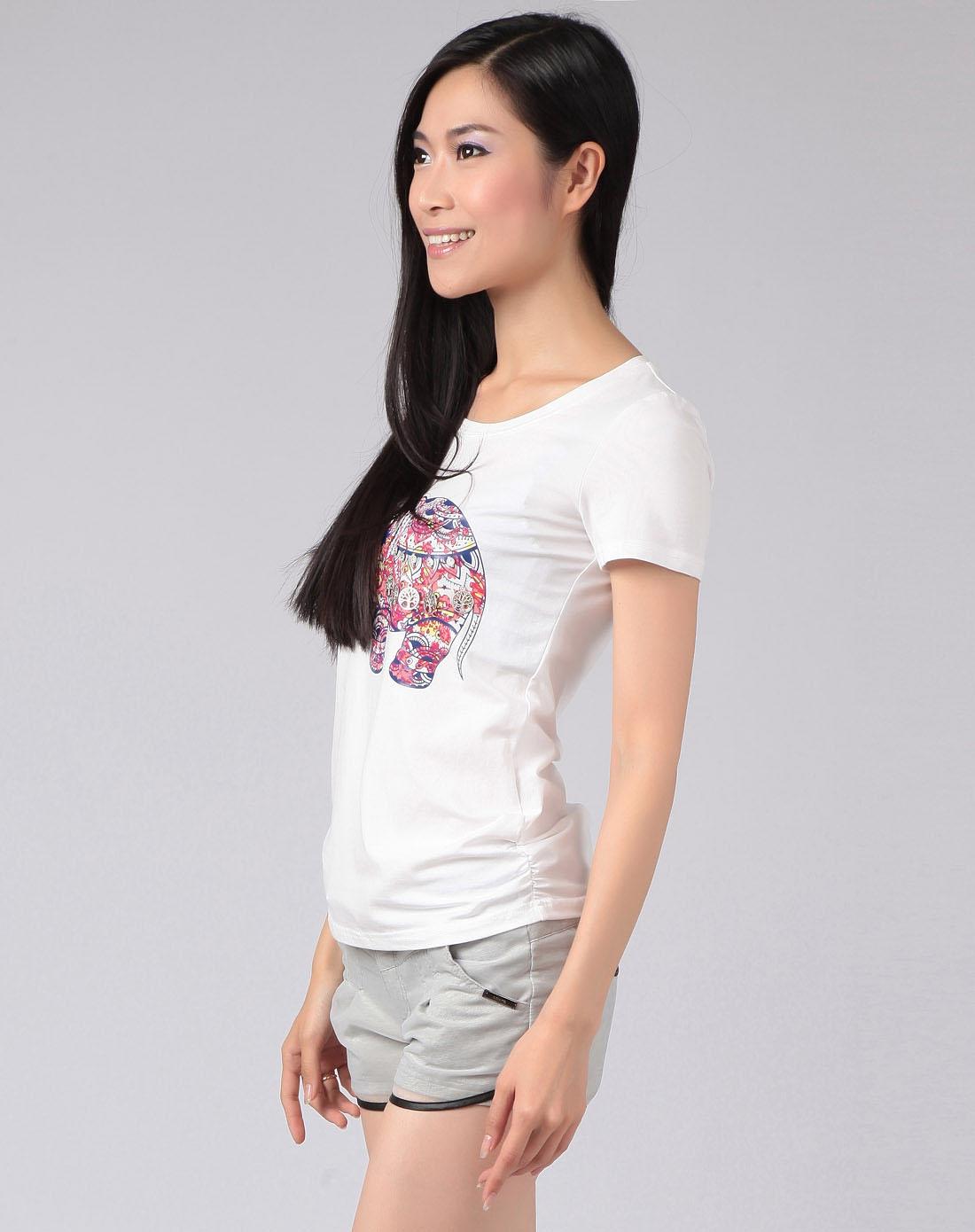 女白底红色小象图案圆领短袖t恤