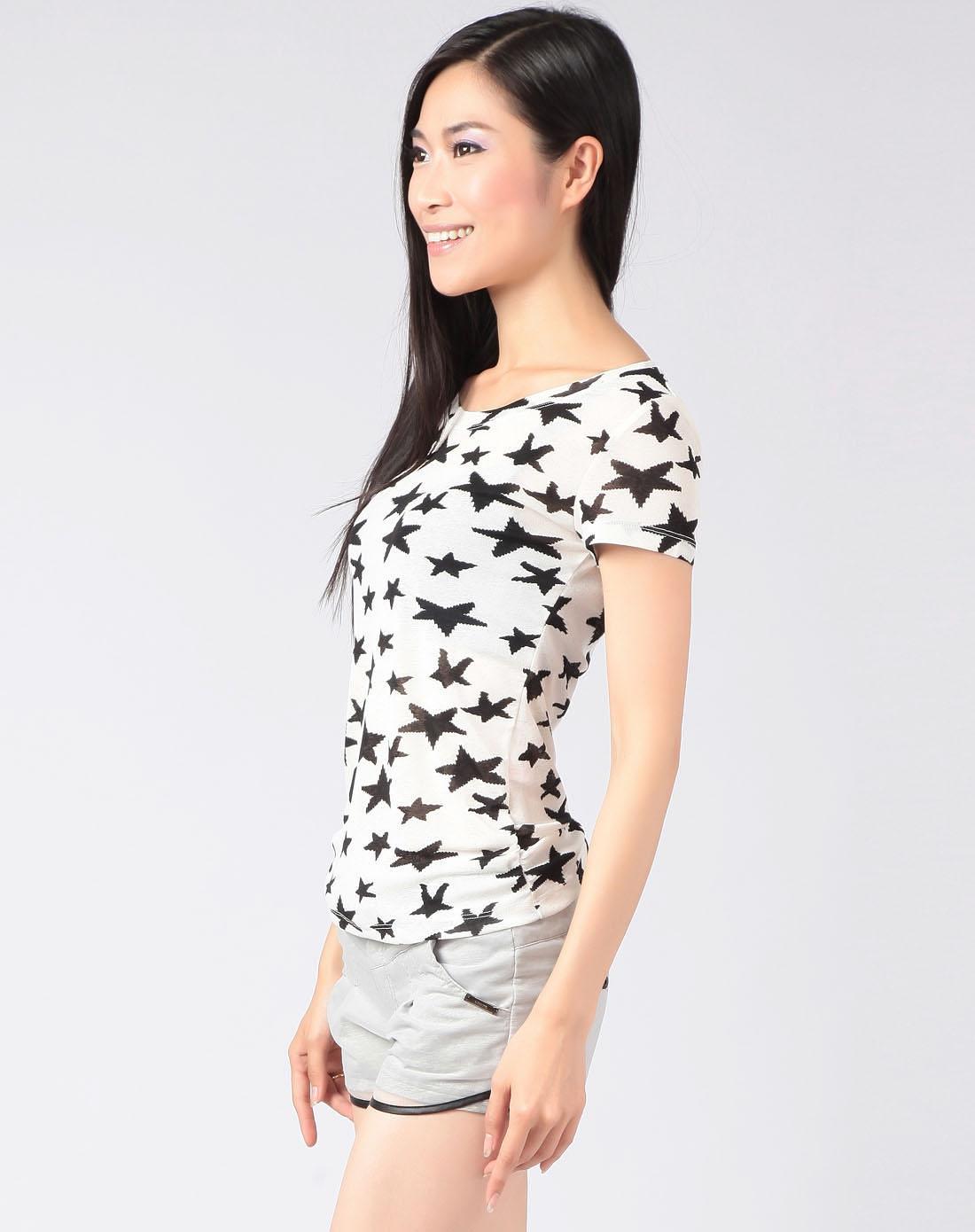女白底黑色星星圆领短袖t恤
