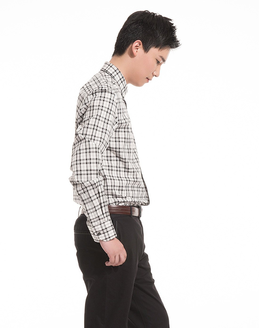 男士灰白色格子长袖衬衫