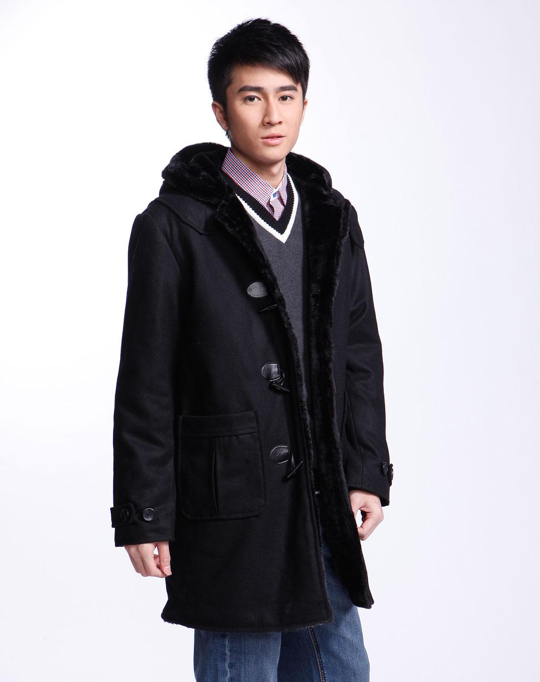 黑色连帽仿貂毛长袖呢子大衣