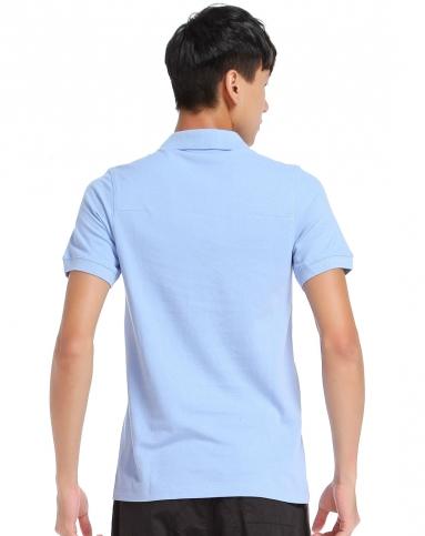 男款浅蓝色反领短袖t恤 纯色全棉简约