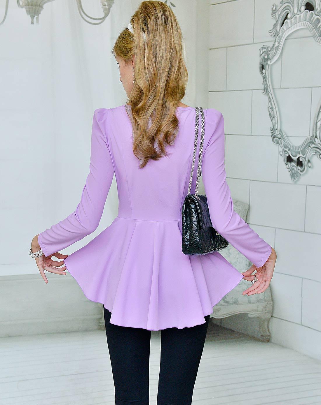 浅紫色镶黑蕾丝蝴蝶结腰带不规则下摆修身衬衫