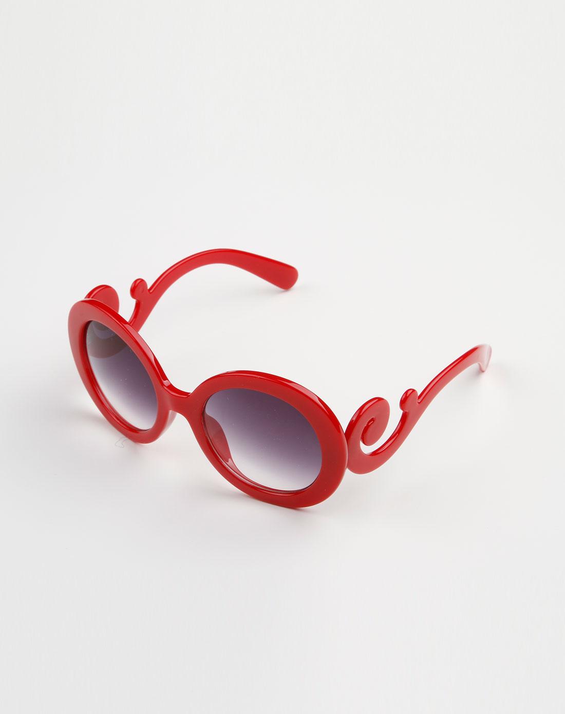 红/墨色可爱圆形眼镜