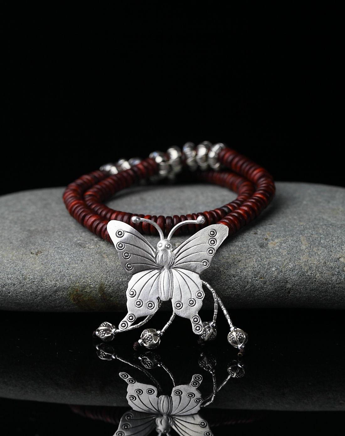 盛世玉石珠宝专场-royal gem 原创设计-时尚隔片珠天然陈料红酸枝手串