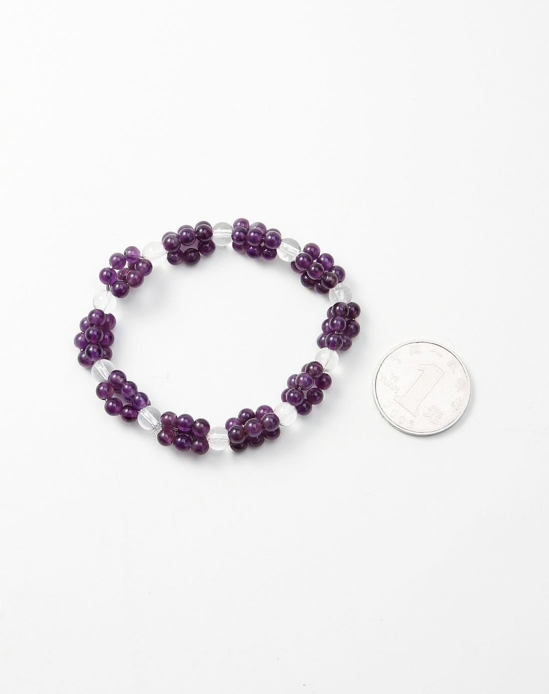 女款紫/白色编织串珠手链