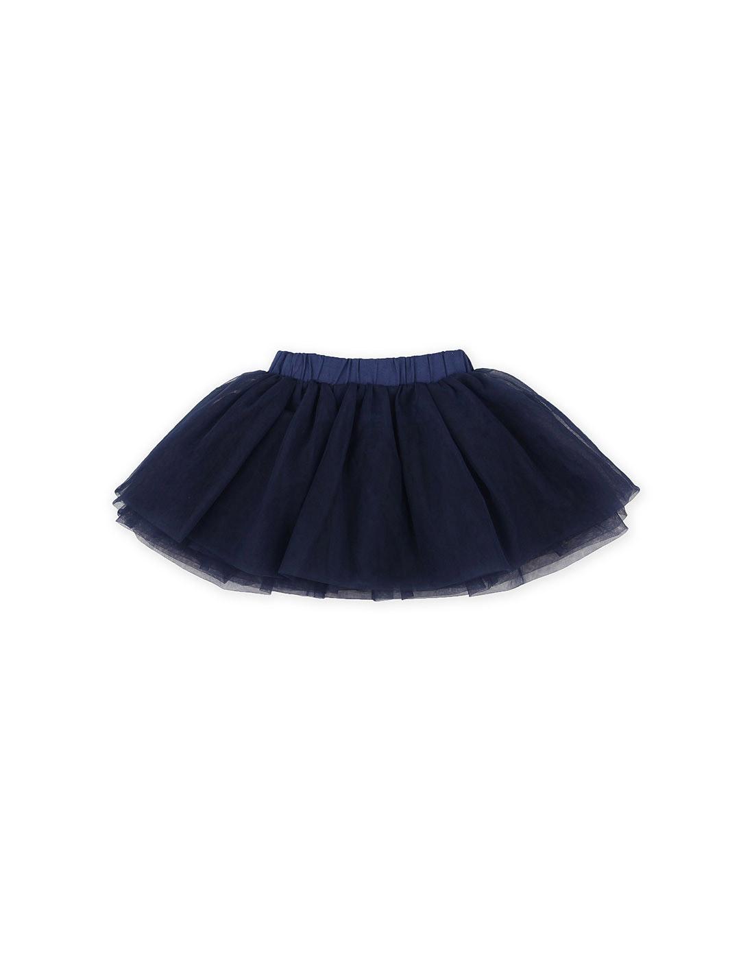 女童藏青色可爱网纱蓬蓬裙