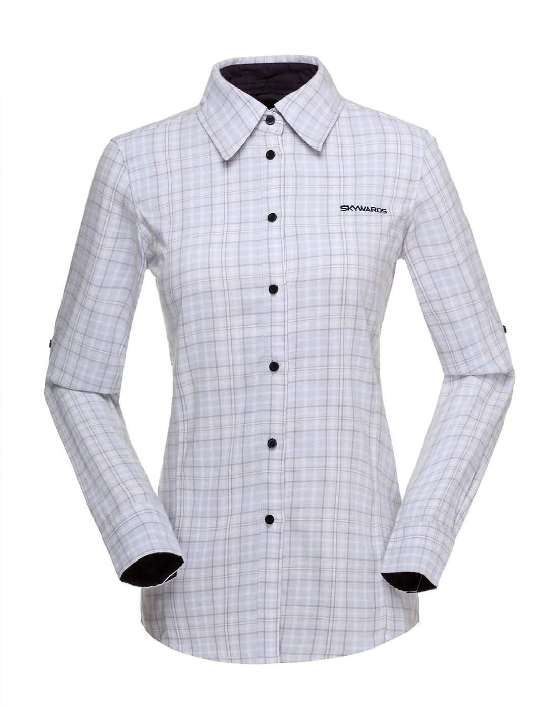 女款白/灰色格子衬衫
