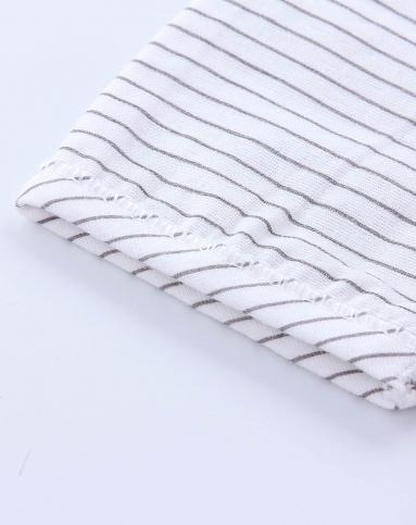 婴儿白底灰条纹印条双纱布单条两用裤