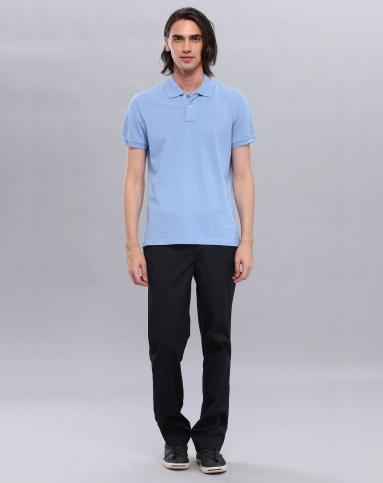 纯色简约浅蓝色短袖polo衫