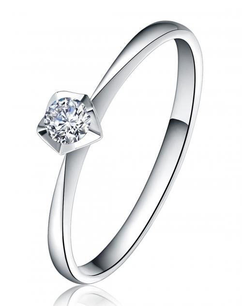 卡迪珠宝 18k白金韩国时尚设计钻石戒指-star