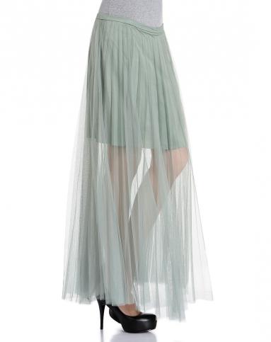 wind绿色网纱时尚百搭长裙6561qf812