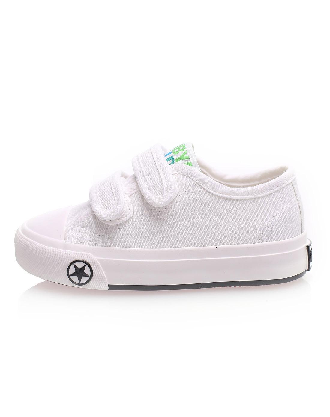 芭芭鸭 中性儿童白色五角星魔术贴帆布鞋