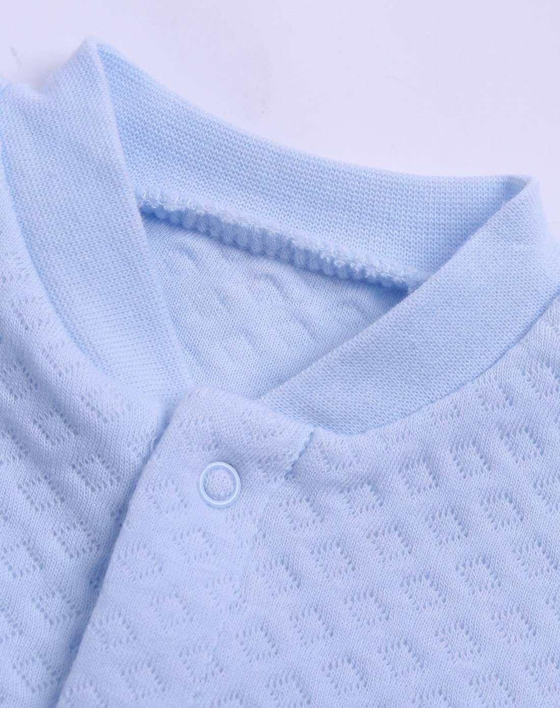 中性浅蓝色纯色时尚长袖内衣