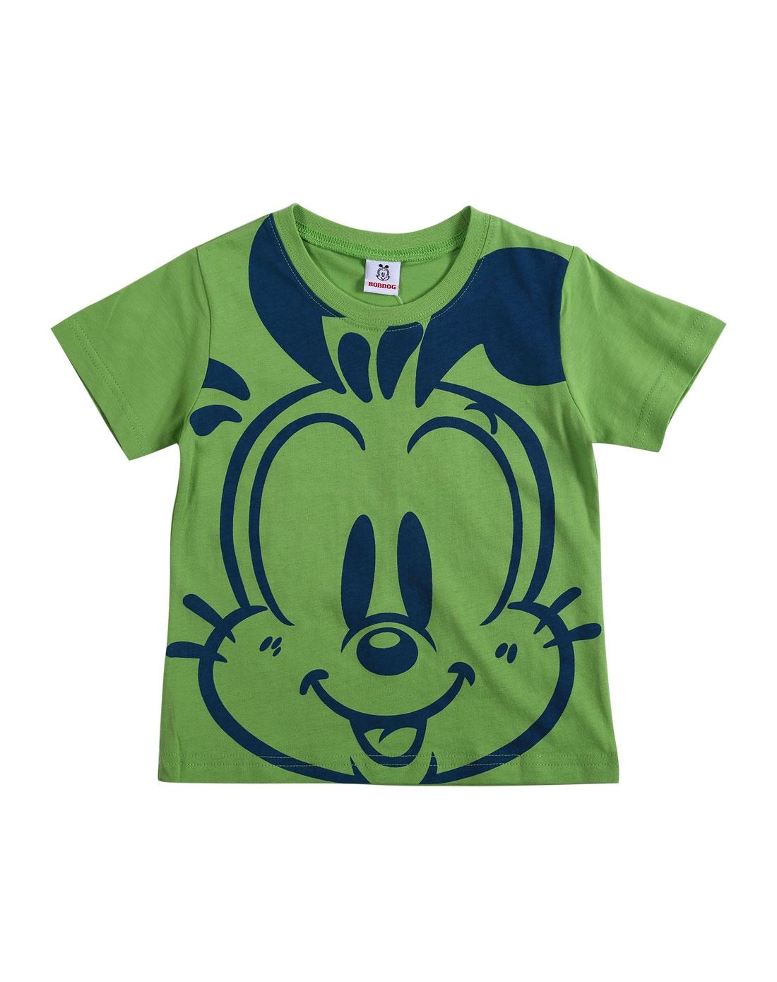 中性绿色卡通针织短袖t恤