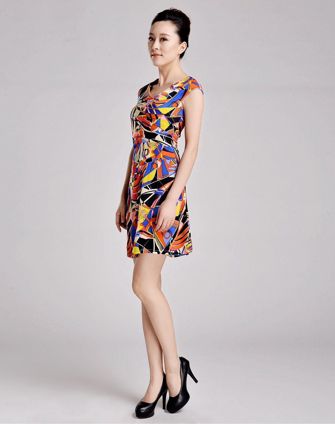 女款橘色几何图案修身真丝连衣裙