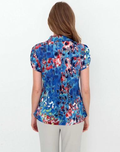 蓝色手绘花朵弹力针织衫