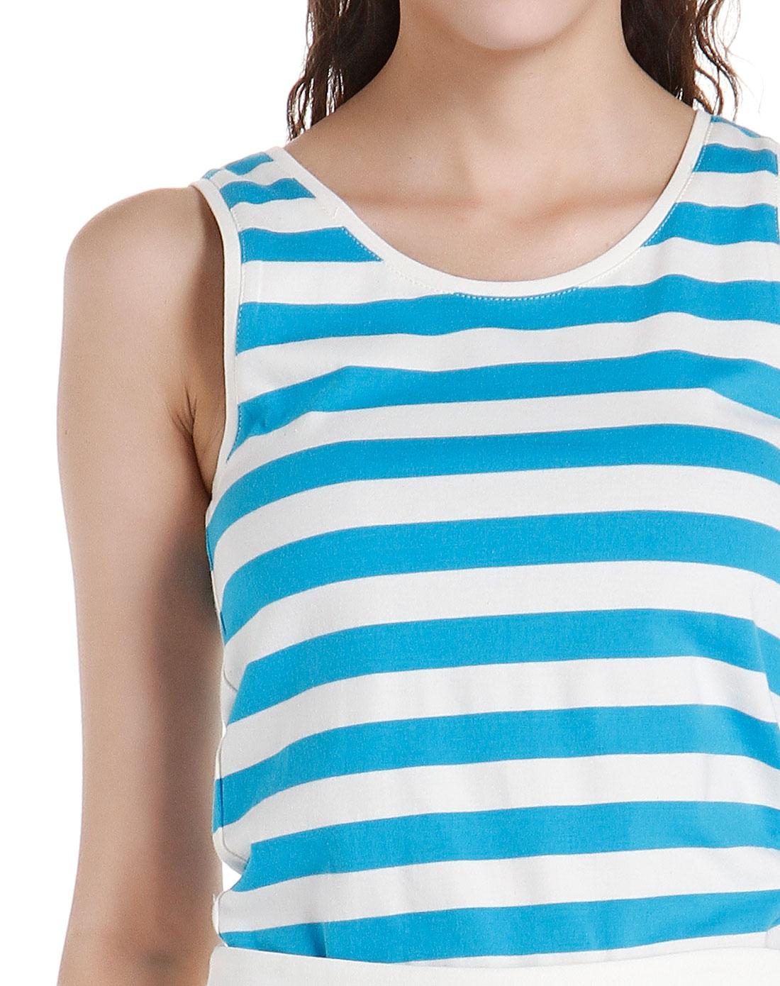 时尚夏日蓝白色条纹背心