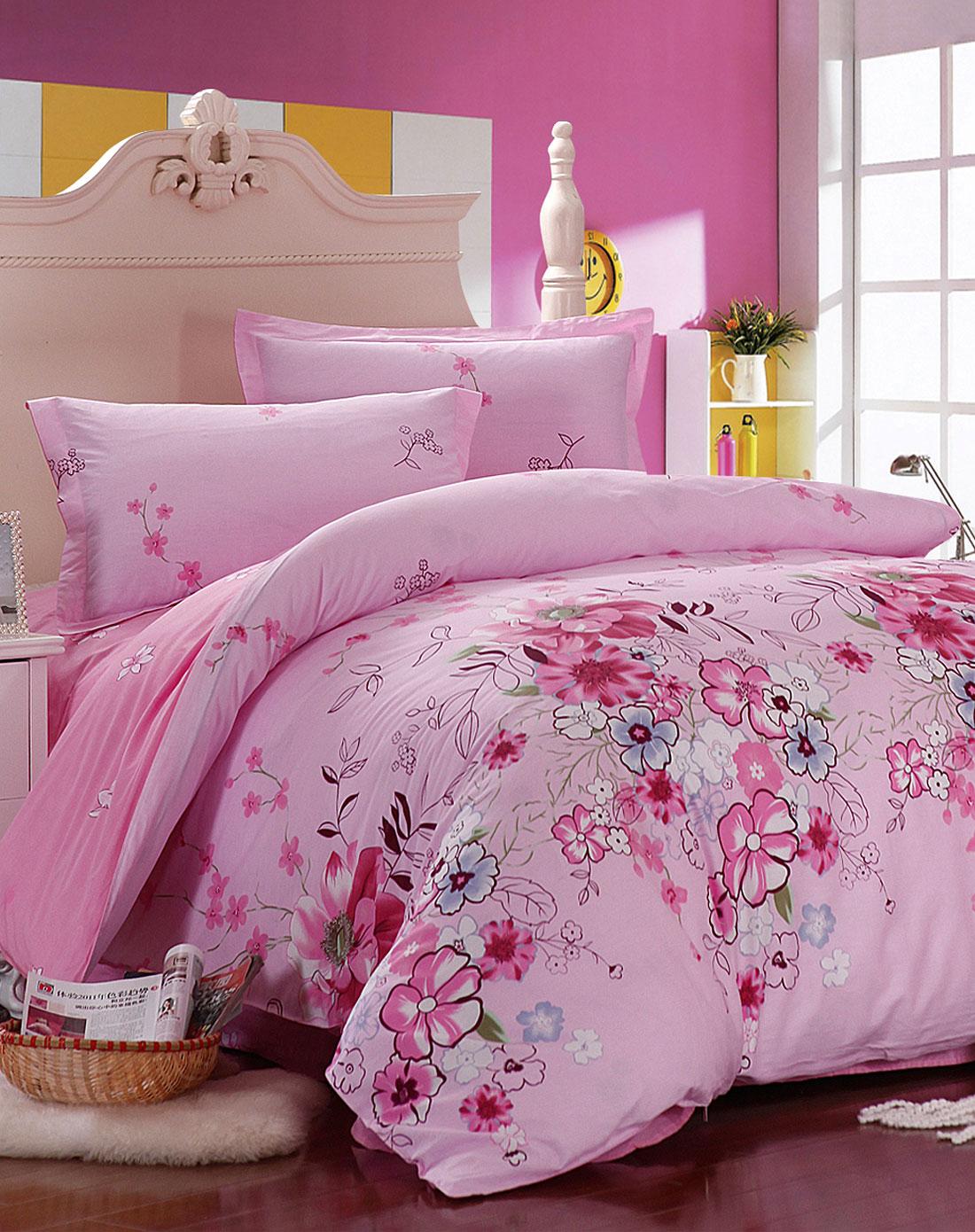 丝曼琳家纺全棉环保印花四件套-粉色浪漫
