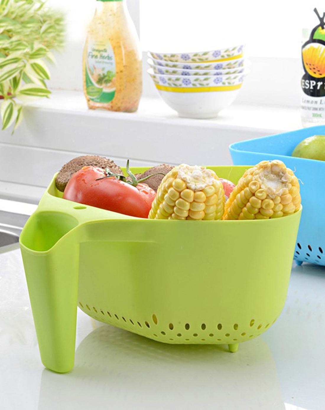 厨房水果蔬菜篮果盘沥水篮(绿)