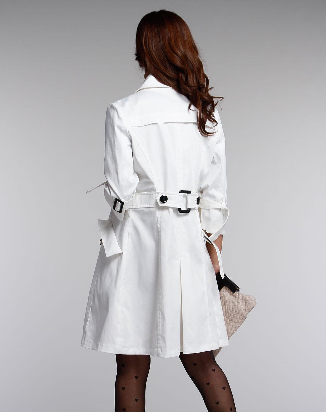 袖时尚_女款白色时尚中袖风衣