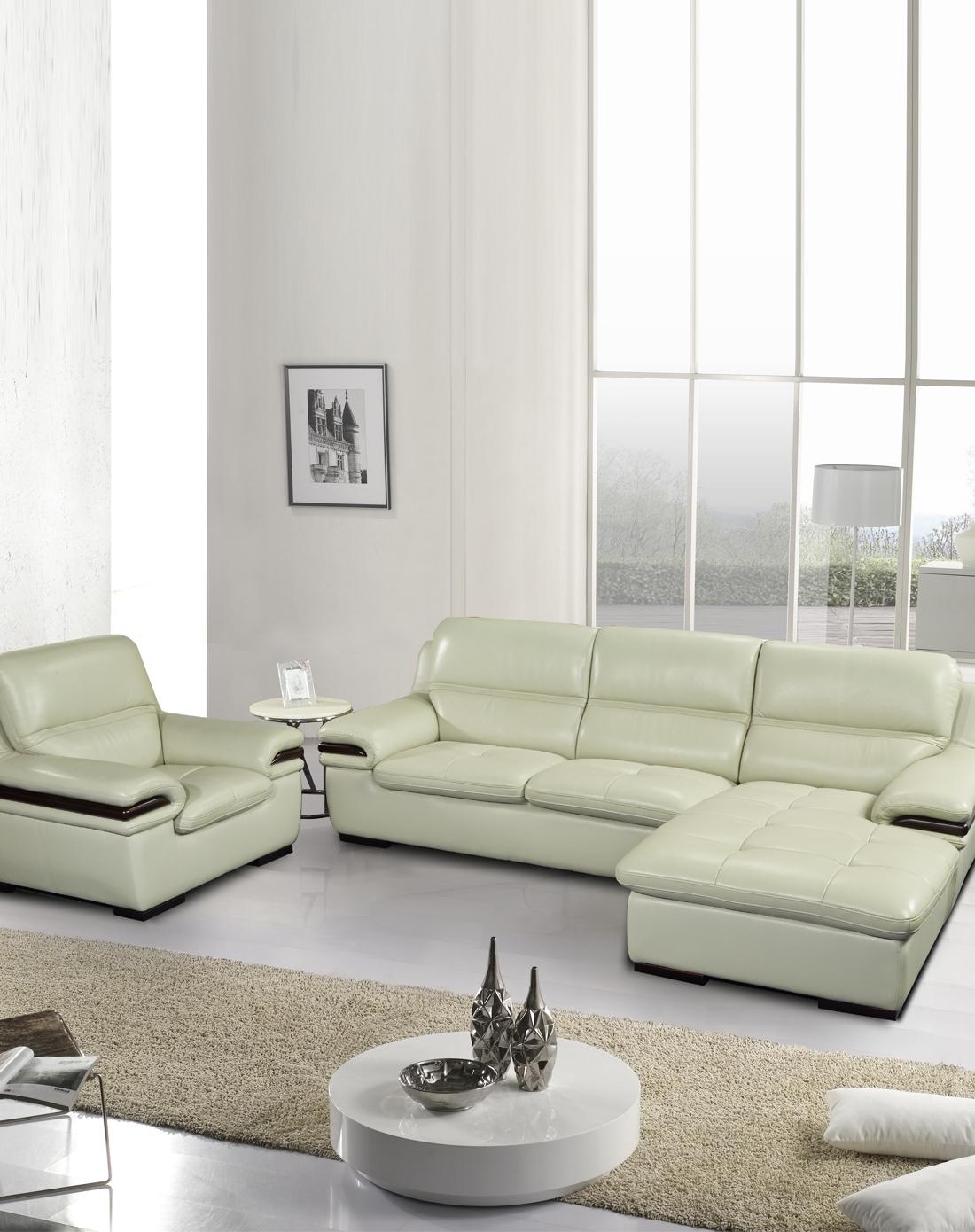 欧式现代简约真皮沙发