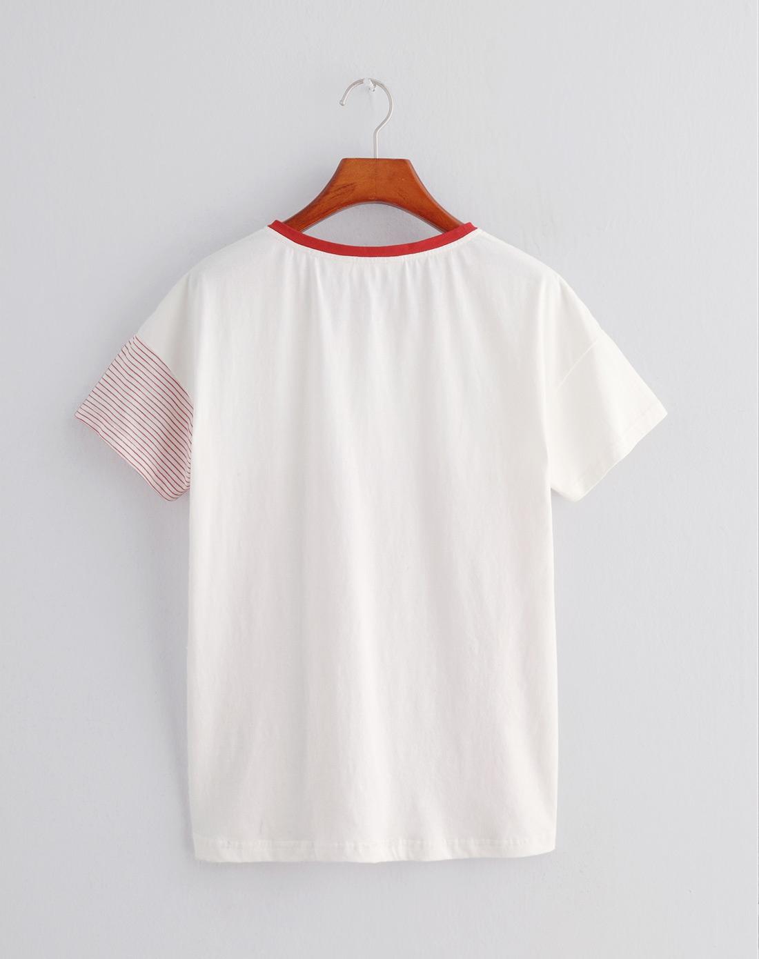 白/红色圆领条纹短袖t恤图片