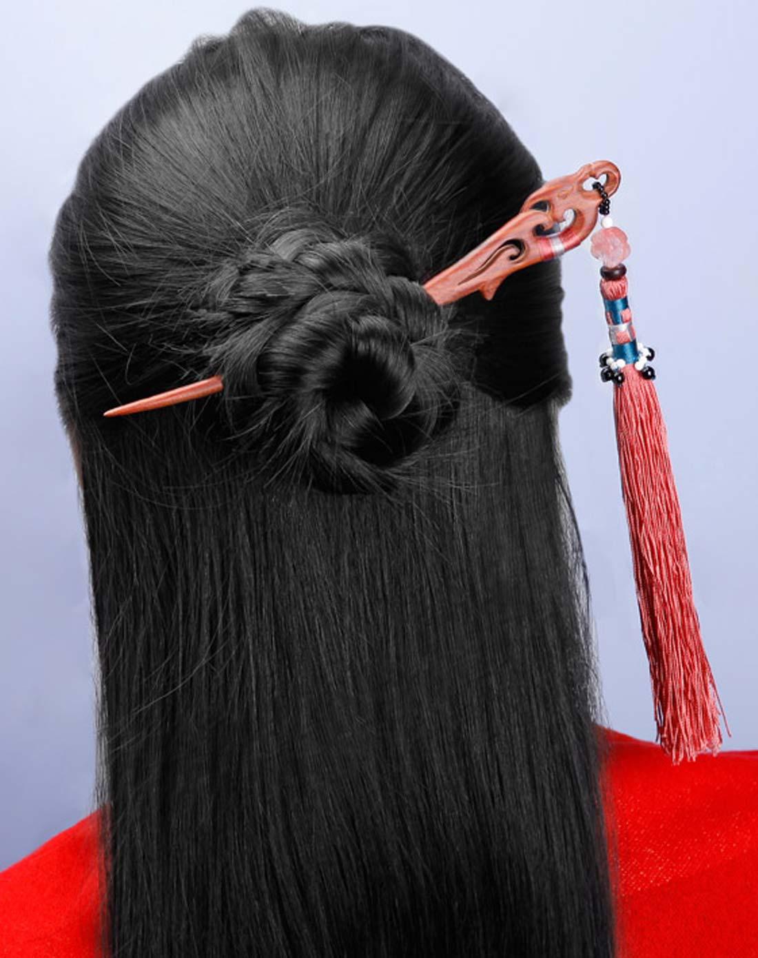 古典红檀木流苏发簪