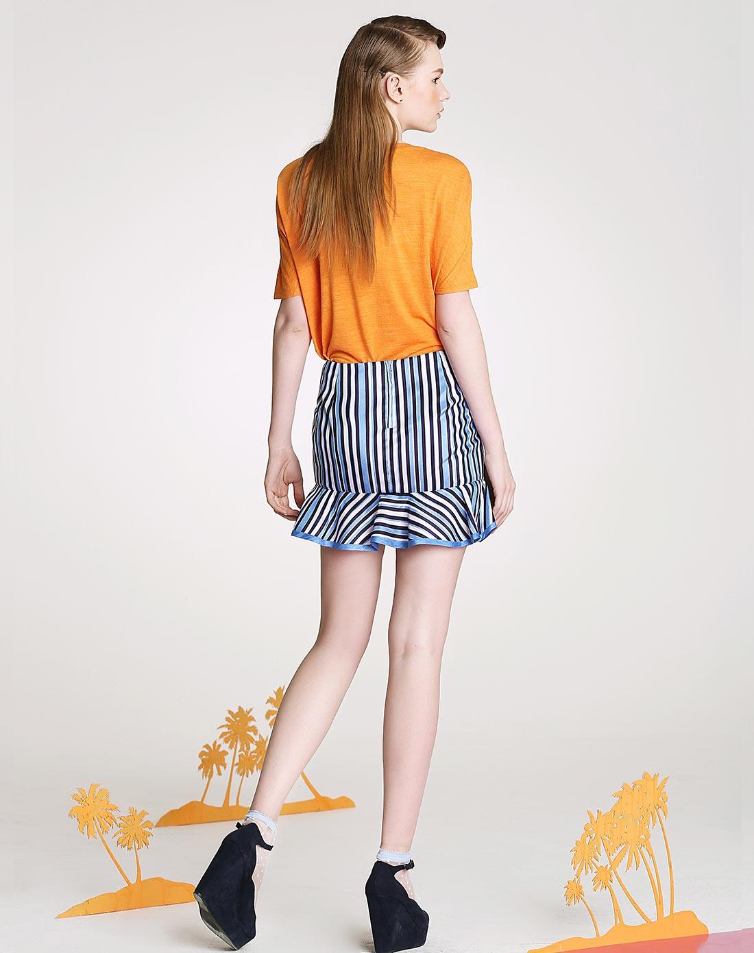 海蓝丝条纹印花包臀半裙