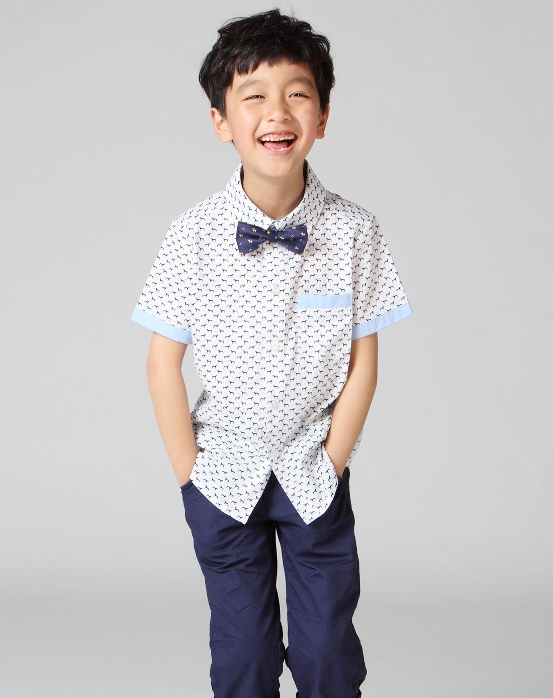 男童白底小马短袖衬衫
