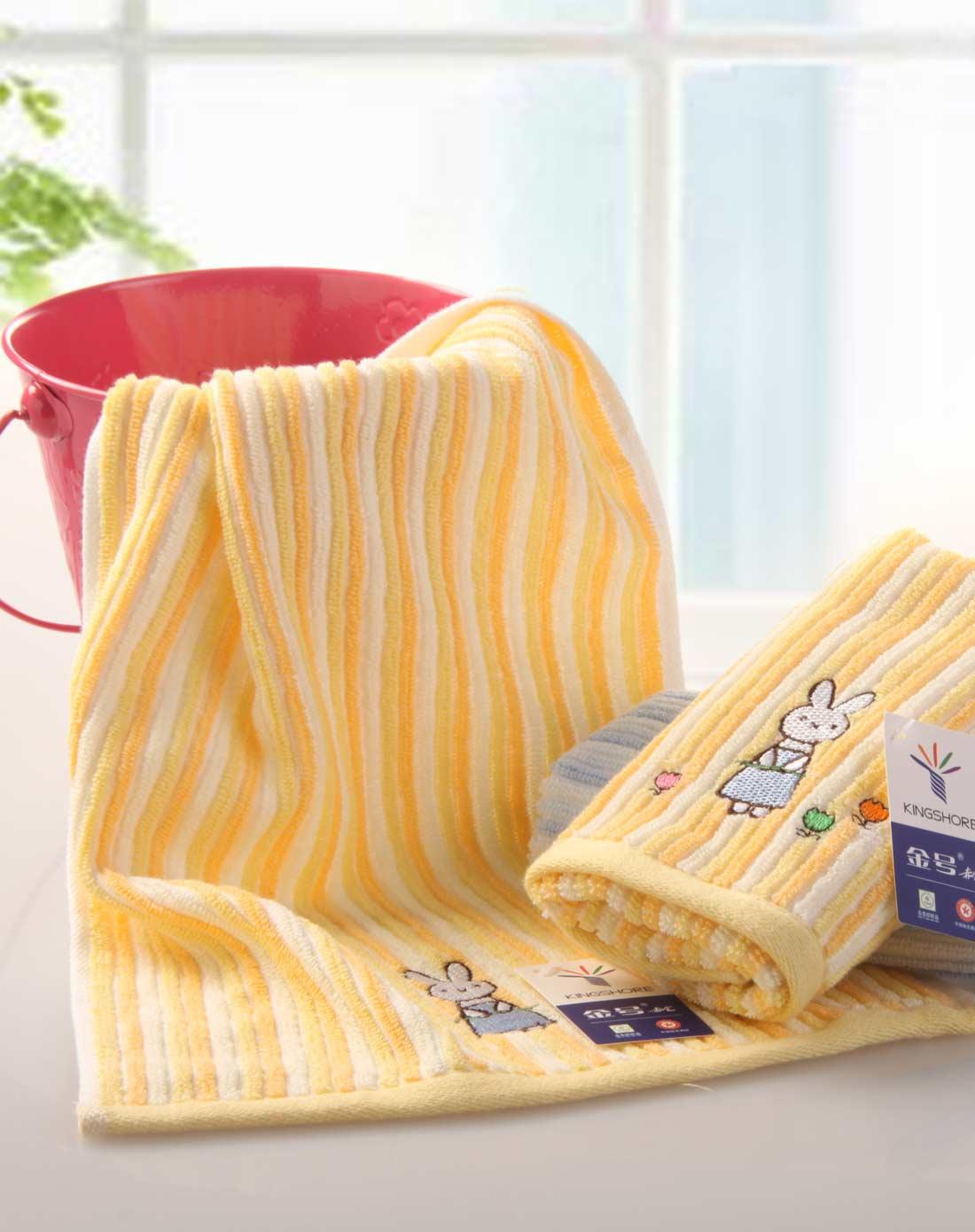 4条装纯棉童巾美容巾卡通绣花可爱小兔子*红,黄,蓝,绿