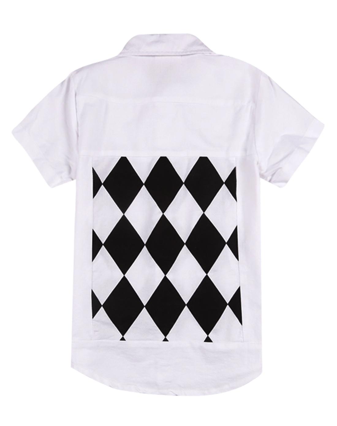 男童白色半袖衬衫