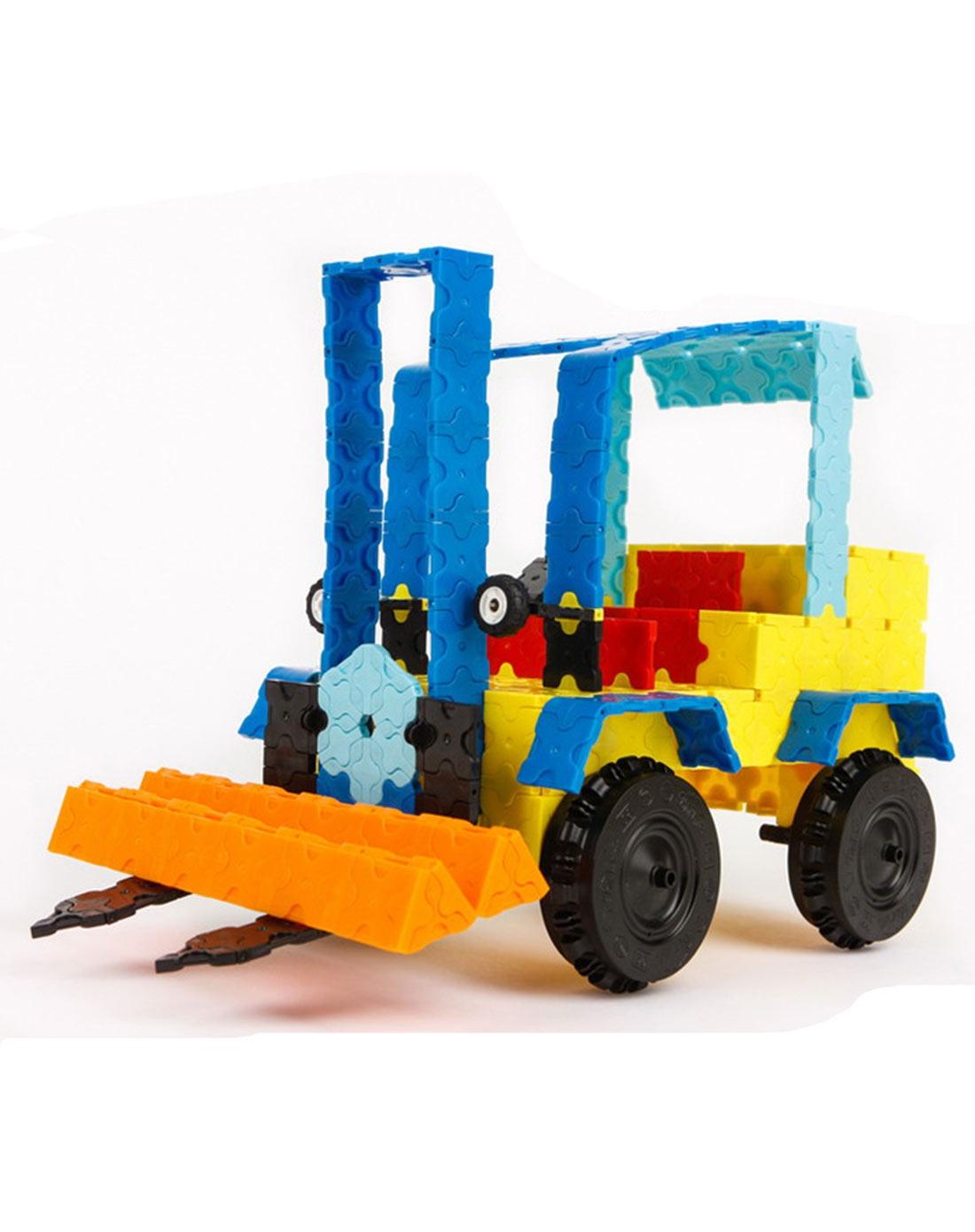大树魔法3d积木608片礼盒套装铲车