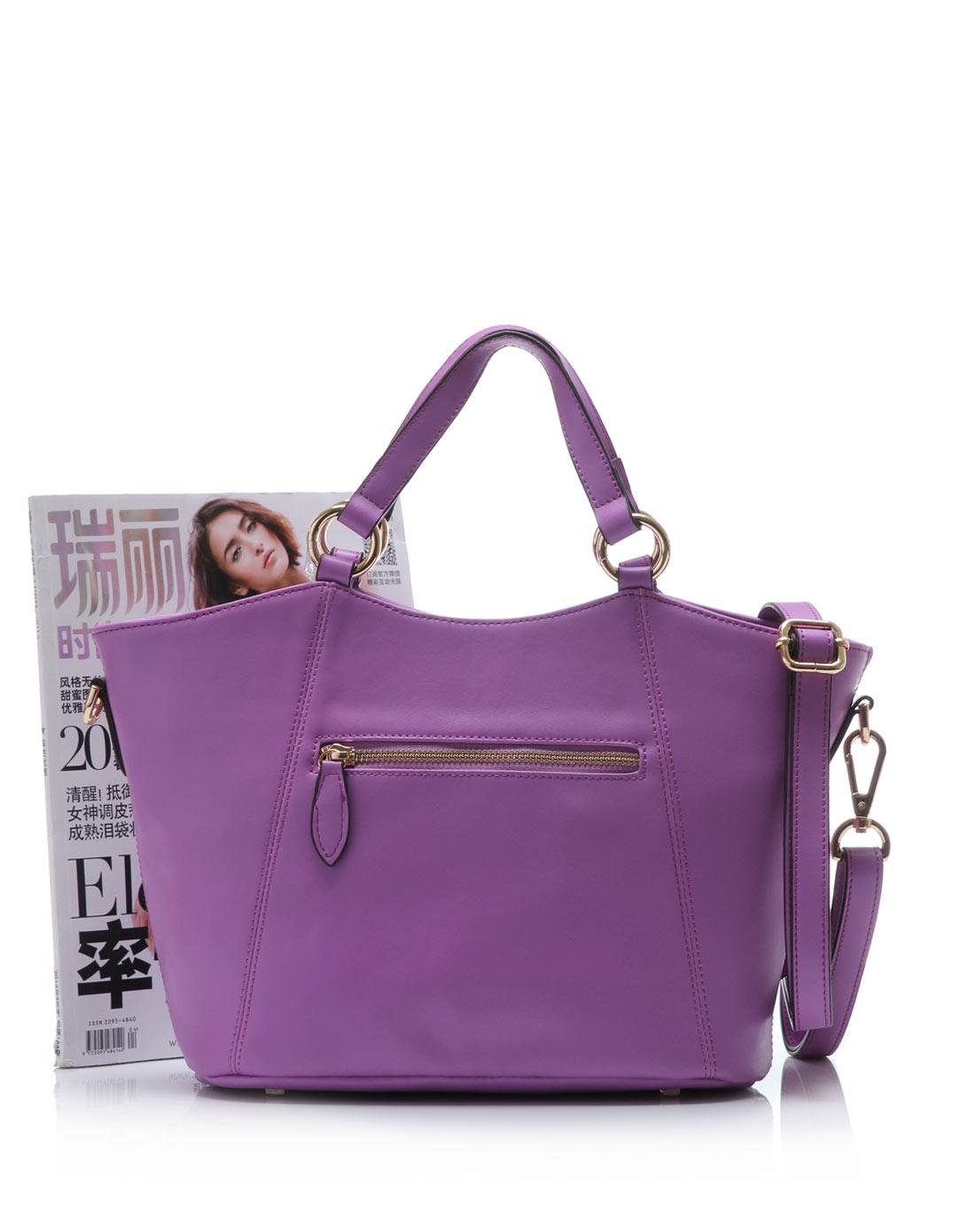 简约浅紫色蝴蝶结单肩包