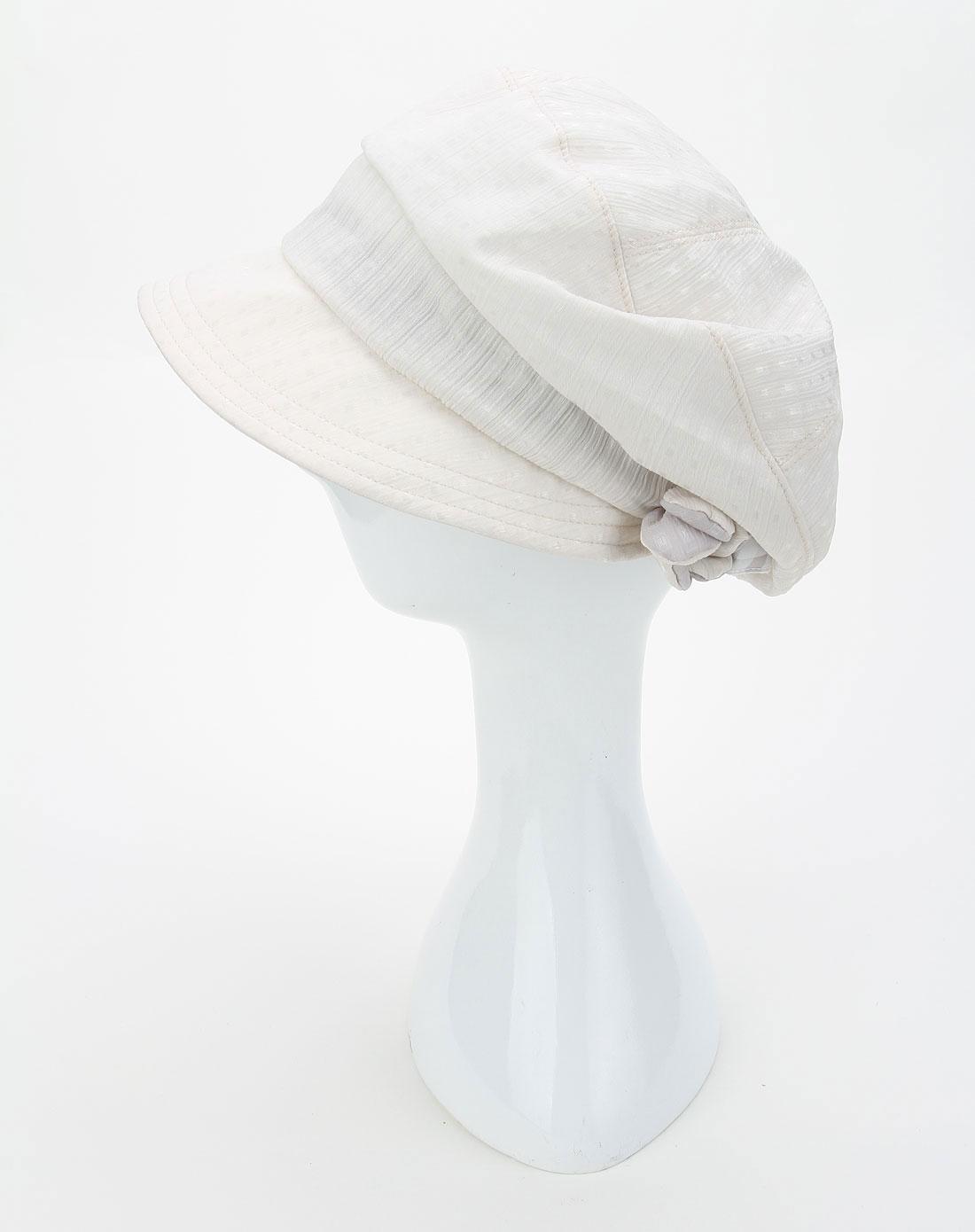 白色小格子休闲帽子