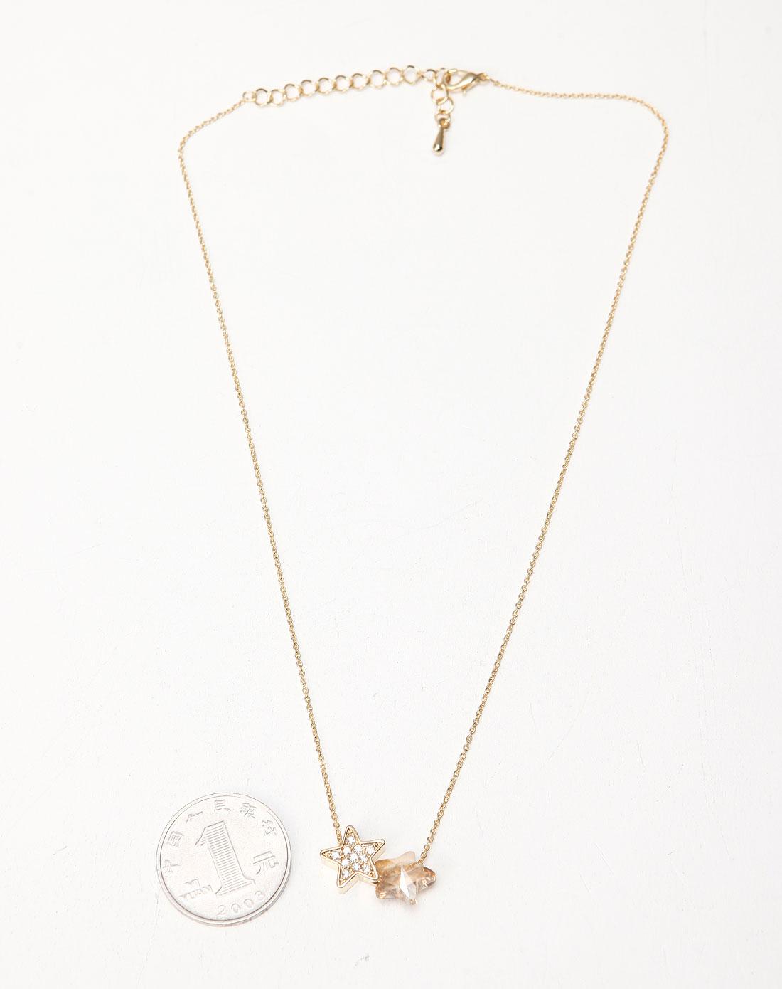 金色/白色时尚星星项链