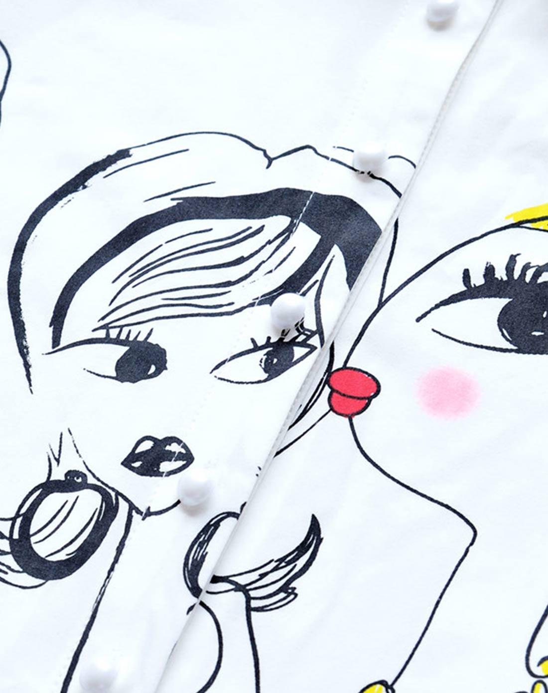 白色卡通人物印花长袖衬衫