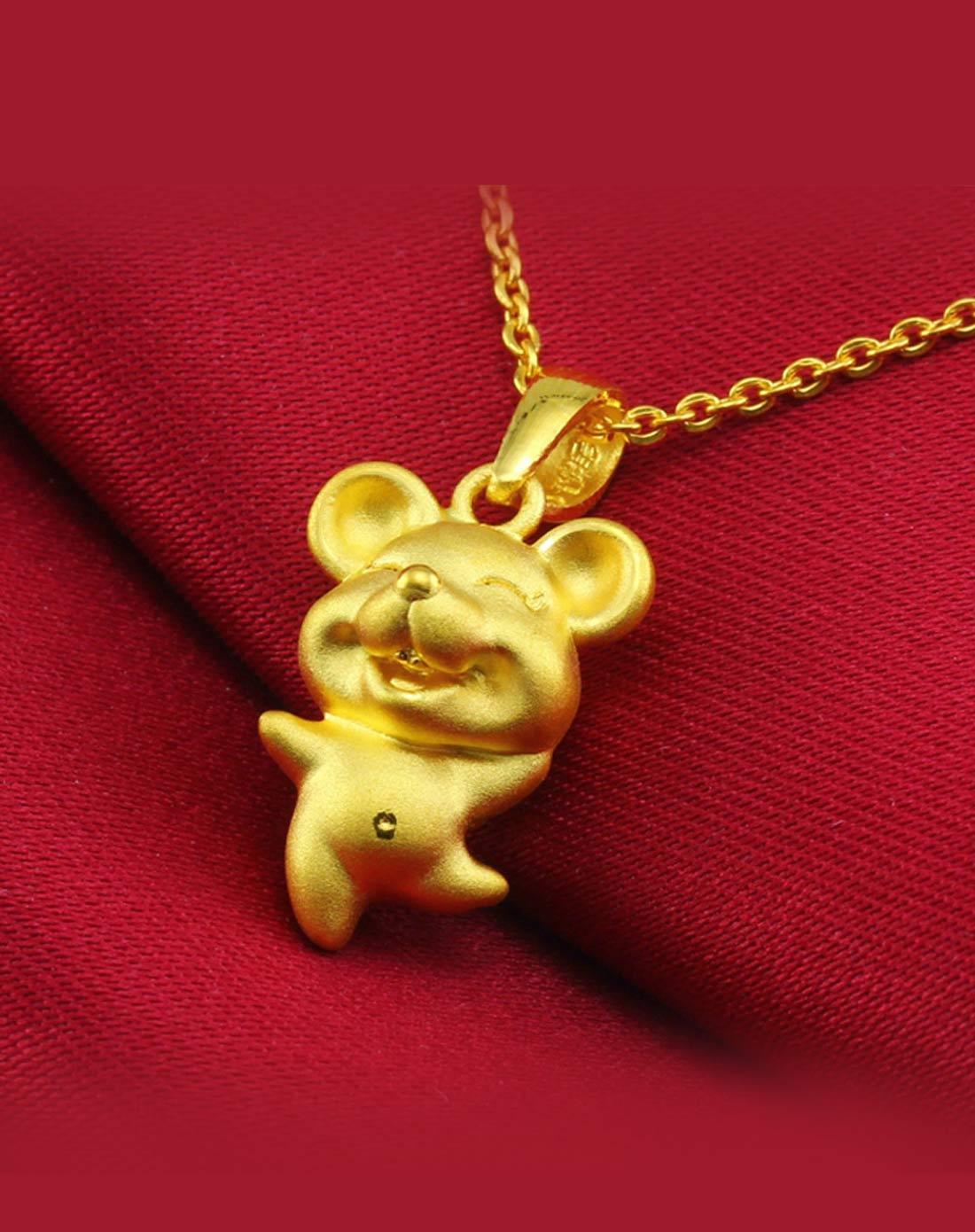 鼠宝宝 3d硬金千足金十二生肖吊坠
