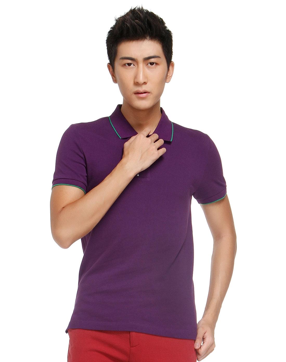 拉链拼接紫色翻领短袖t恤