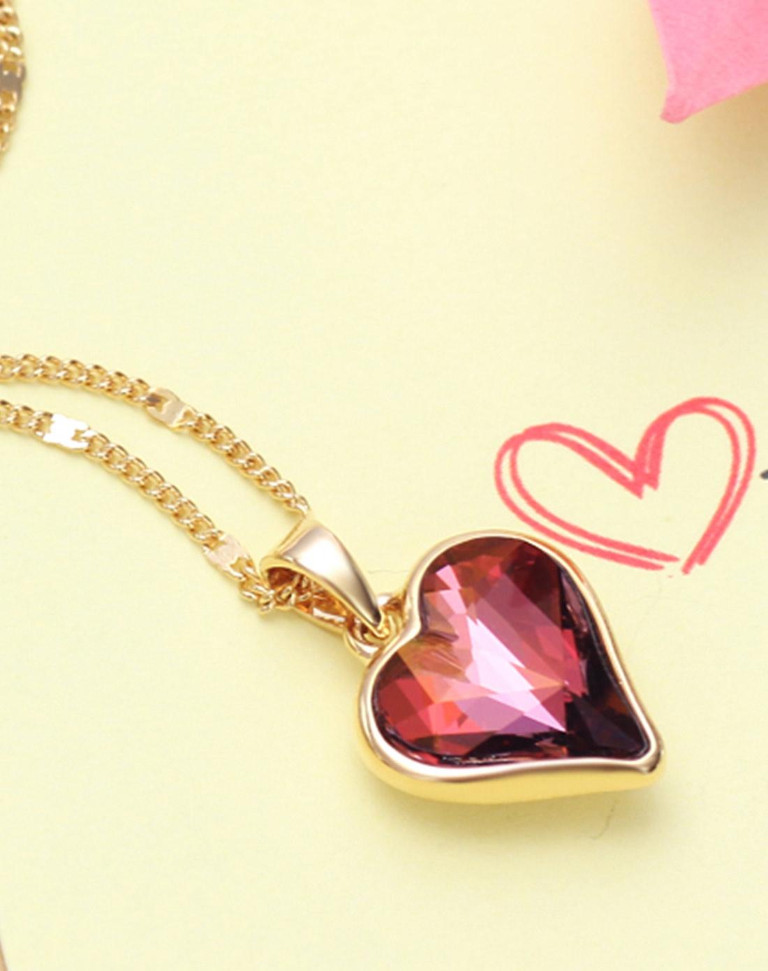 新光饰品专场-紫色爱心玫瑰金镶边项链
