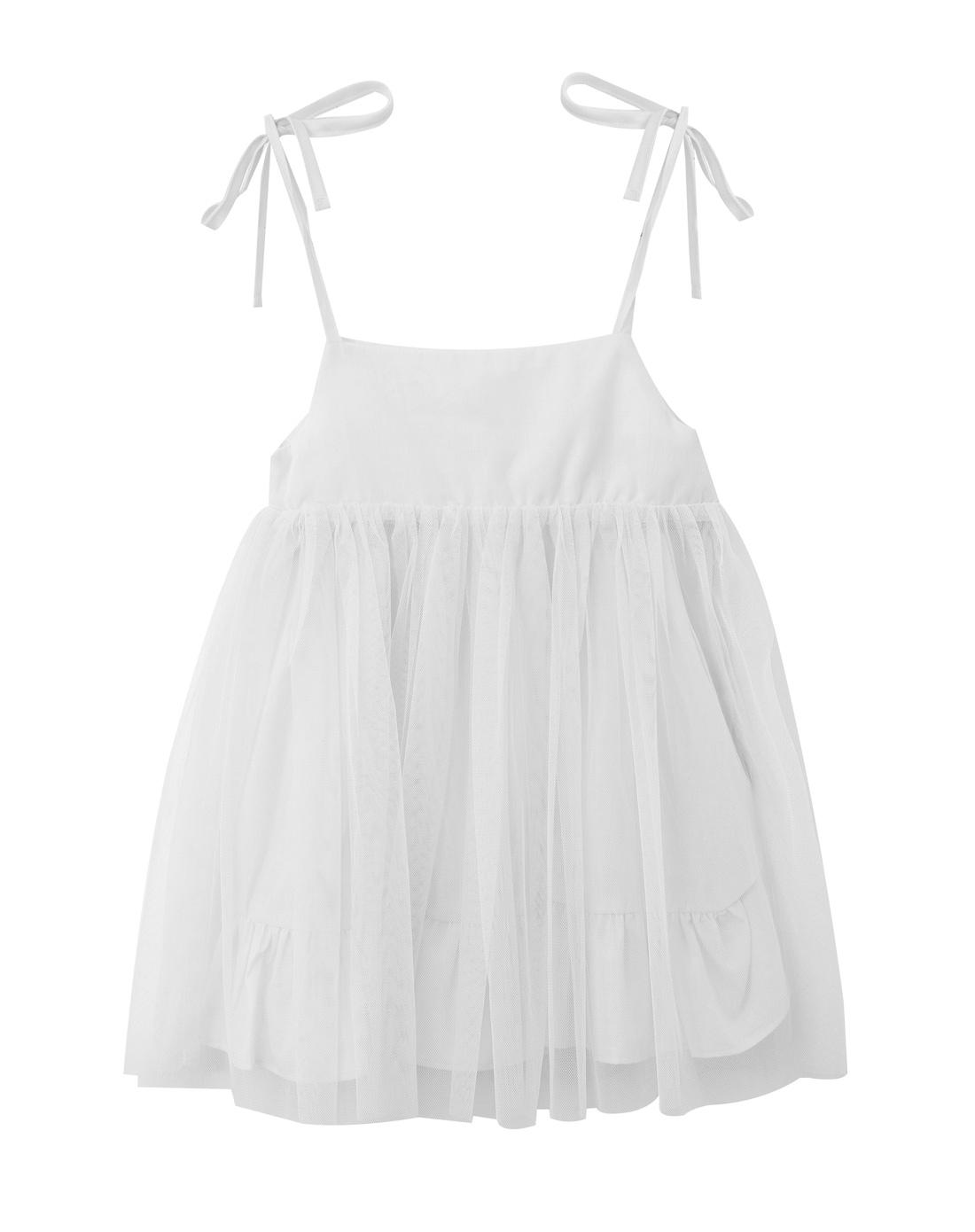 女童本白色仲夏精灵可爱公主吊带裙
