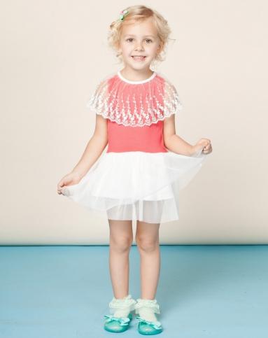 欧梦达 女童西瓜红色海派甜心可爱公主连衣裙