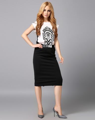 黑白色裙子全黑套装